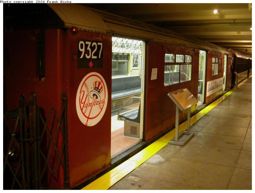 (99k, 820x620)<br><b>Country:</b> United States<br><b>City:</b> New York<br><b>System:</b> New York City Transit<br><b>Location:</b> New York Transit Museum<br><b>Car:</b> R-33 World's Fair (St. Louis, 1963-64) 9327 <br><b>Photo by:</b> Frank Hicks<br><b>Date:</b> 5/18/2004<br><b>Notes:</b> Yankees end of subway series car<br><b>Viewed (this week/total):</b> 2 / 5723