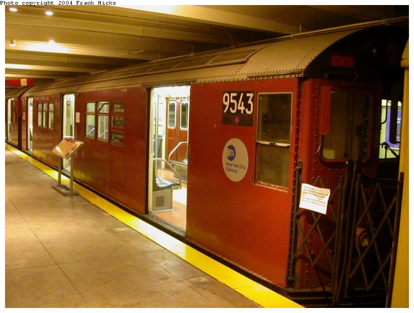 (105k, 820x620)<br><b>Country:</b> United States<br><b>City:</b> New York<br><b>System:</b> New York City Transit<br><b>Location:</b> New York Transit Museum<br><b>Car:</b> R-36 Main Line (St. Louis, 1964) 9543 <br><b>Photo by:</b> Frank Hicks<br><b>Date:</b> 5/18/2004<br><b>Viewed (this week/total):</b> 5 / 7432