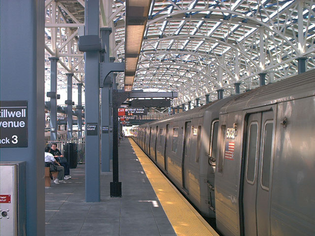(110k, 640x480)<br><b>Country:</b> United States<br><b>City:</b> New York<br><b>System:</b> New York City Transit<br><b>Location:</b> Coney Island/Stillwell Avenue<br><b>Route:</b> F<br><b>Car:</b> R-68A (Kawasaki, 1988-1989)  5032 <br><b>Photo by:</b> Tony Mirabella<br><b>Date:</b> 5/23/2004<br><b>Viewed (this week/total):</b> 0 / 4436