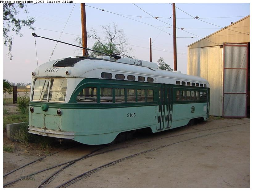 (78k, 820x620)<br><b>Country:</b> United States<br><b>City:</b> Perris, CA<br><b>System:</b> Orange Empire Railway Museum <br><b>Car:</b> PCC  3165 <br><b>Photo by:</b> Salaam Allah<br><b>Date:</b> 7/27/2003<br><b>Viewed (this week/total):</b> 5 / 1974