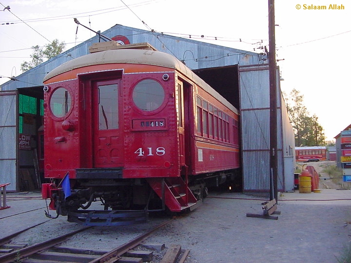 (249k, 720x540)<br><b>Country:</b> United States<br><b>City:</b> Perris, CA<br><b>System:</b> Orange Empire Railway Museum <br><b>Car:</b> Pacific Electric Blimp Interurban (Pullman, 1913)  418 <br><b>Photo by:</b> Salaam Allah<br><b>Date:</b> 7/27/2003<br><b>Viewed (this week/total):</b> 5 / 1313