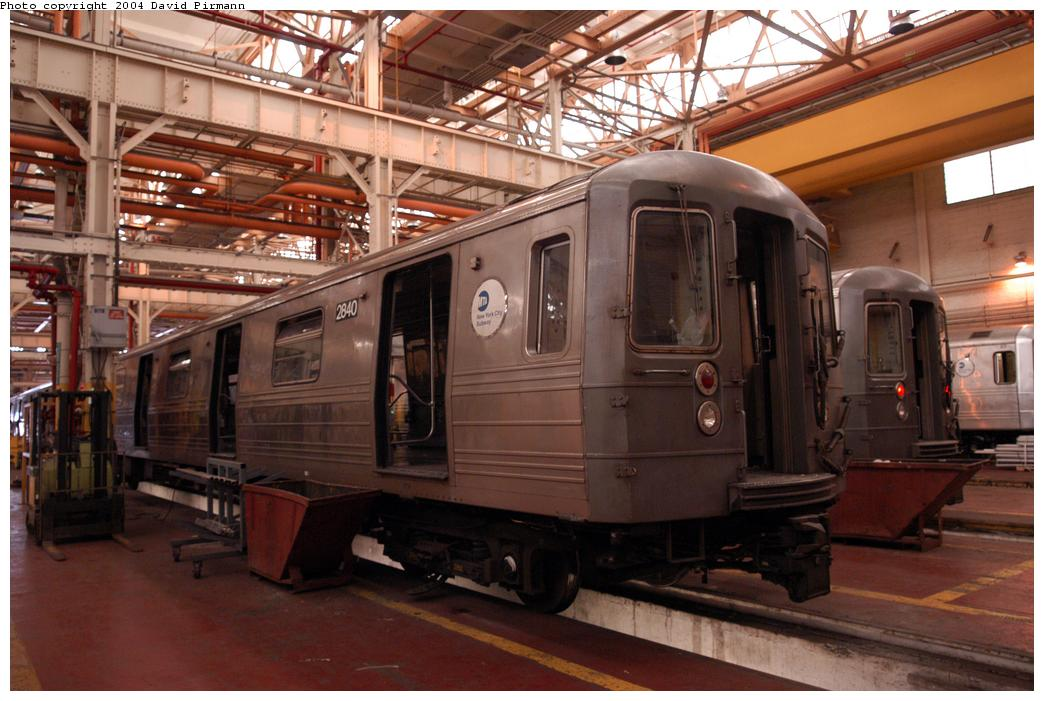 (153k, 1044x701)<br><b>Country:</b> United States<br><b>City:</b> New York<br><b>System:</b> New York City Transit<br><b>Location:</b> Coney Island Shop/Overhaul & Repair Shop<br><b>Car:</b> R-68 (Westinghouse-Amrail, 1986-1988)  2840 <br><b>Photo by:</b> David Pirmann<br><b>Date:</b> 6/13/2004<br><b>Viewed (this week/total):</b> 1 / 2370