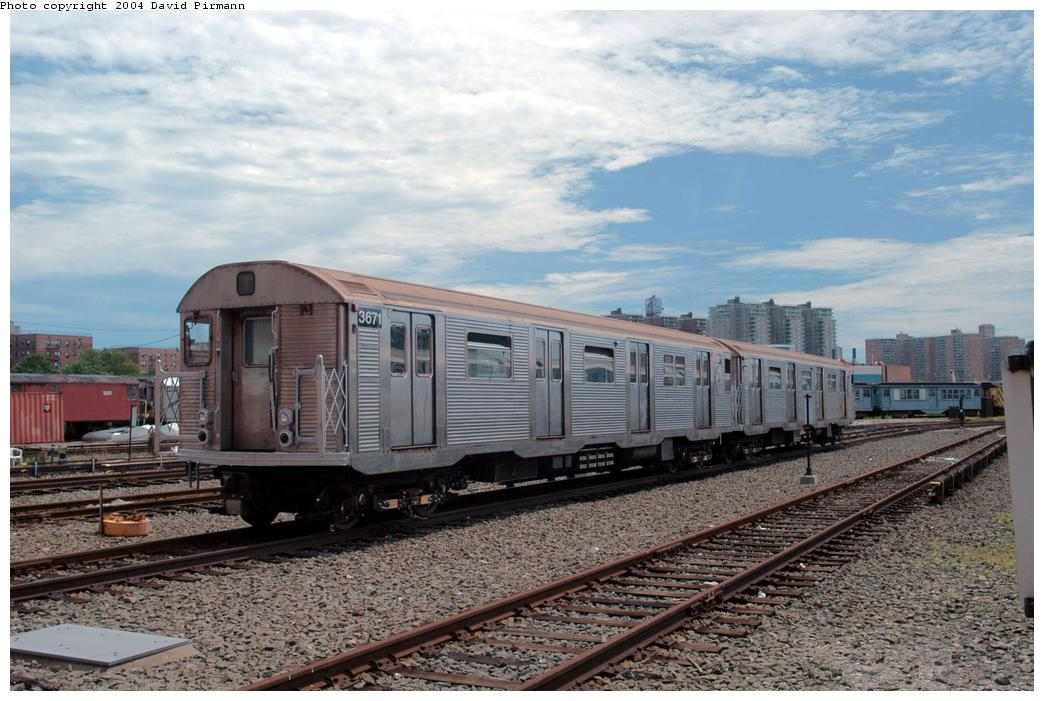 (176k, 1044x701)<br><b>Country:</b> United States<br><b>City:</b> New York<br><b>System:</b> New York City Transit<br><b>Location:</b> Coney Island Yard<br><b>Car:</b> R-32 (Budd, 1964)  3671 <br><b>Photo by:</b> David Pirmann<br><b>Date:</b> 6/13/2004<br><b>Viewed (this week/total):</b> 0 / 3867