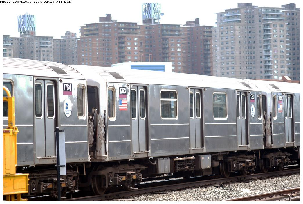 (169k, 1044x701)<br><b>Country:</b> United States<br><b>City:</b> New York<br><b>System:</b> New York City Transit<br><b>Location:</b> Coney Island Yard<br><b>Car:</b> R-62A (Bombardier, 1984-1987)  1763 <br><b>Photo by:</b> David Pirmann<br><b>Date:</b> 6/13/2004<br><b>Viewed (this week/total):</b> 1 / 4049