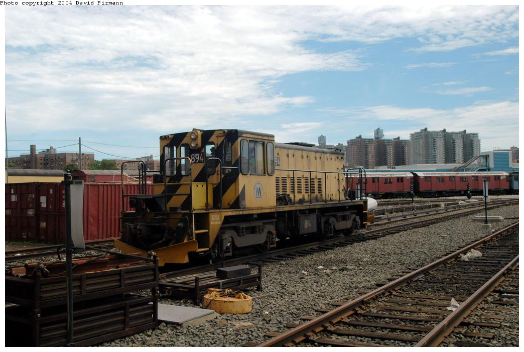 (164k, 1044x701)<br><b>Country:</b> United States<br><b>City:</b> New York<br><b>System:</b> New York City Transit<br><b>Location:</b> Coney Island Yard<br><b>Car:</b> R-77 Locomotive  894 <br><b>Photo by:</b> David Pirmann<br><b>Date:</b> 6/13/2004<br><b>Viewed (this week/total):</b> 1 / 1932