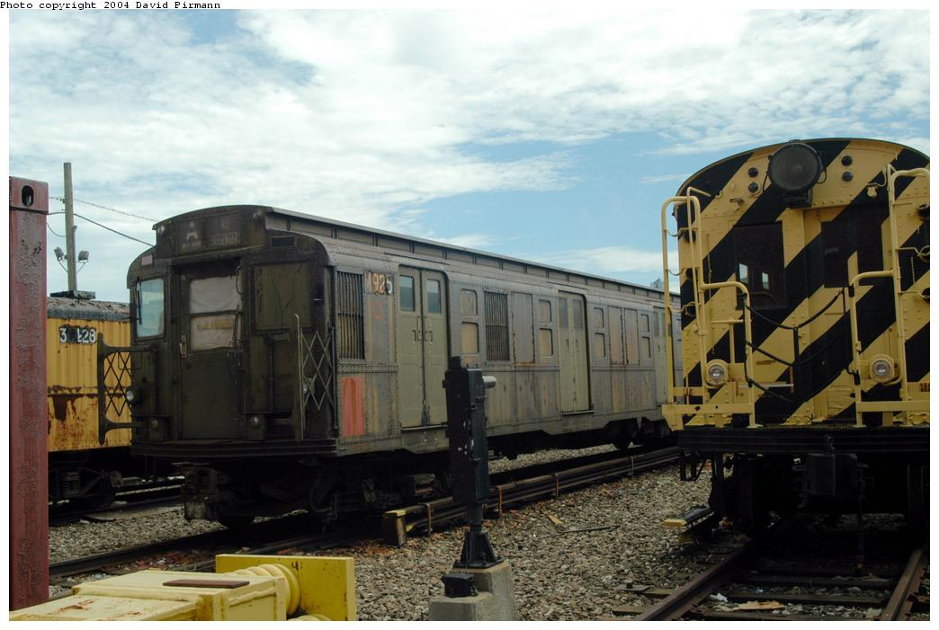 (153k, 1044x701)<br><b>Country:</b> United States<br><b>City:</b> New York<br><b>System:</b> New York City Transit<br><b>Location:</b> Coney Island Yard-Museum Yard<br><b>Car:</b> R-6-3 (American Car & Foundry, 1935)  925 <br><b>Photo by:</b> David Pirmann<br><b>Date:</b> 6/13/2004<br><b>Viewed (this week/total):</b> 0 / 3950