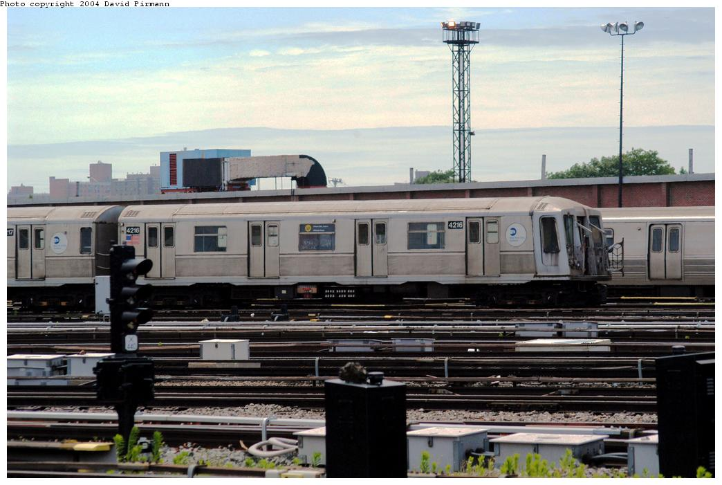 (155k, 1044x701)<br><b>Country:</b> United States<br><b>City:</b> New York<br><b>System:</b> New York City Transit<br><b>Location:</b> Coney Island Yard<br><b>Car:</b> R-40 (St. Louis, 1968)  4216 <br><b>Photo by:</b> David Pirmann<br><b>Date:</b> 6/13/2004<br><b>Viewed (this week/total):</b> 4 / 3507