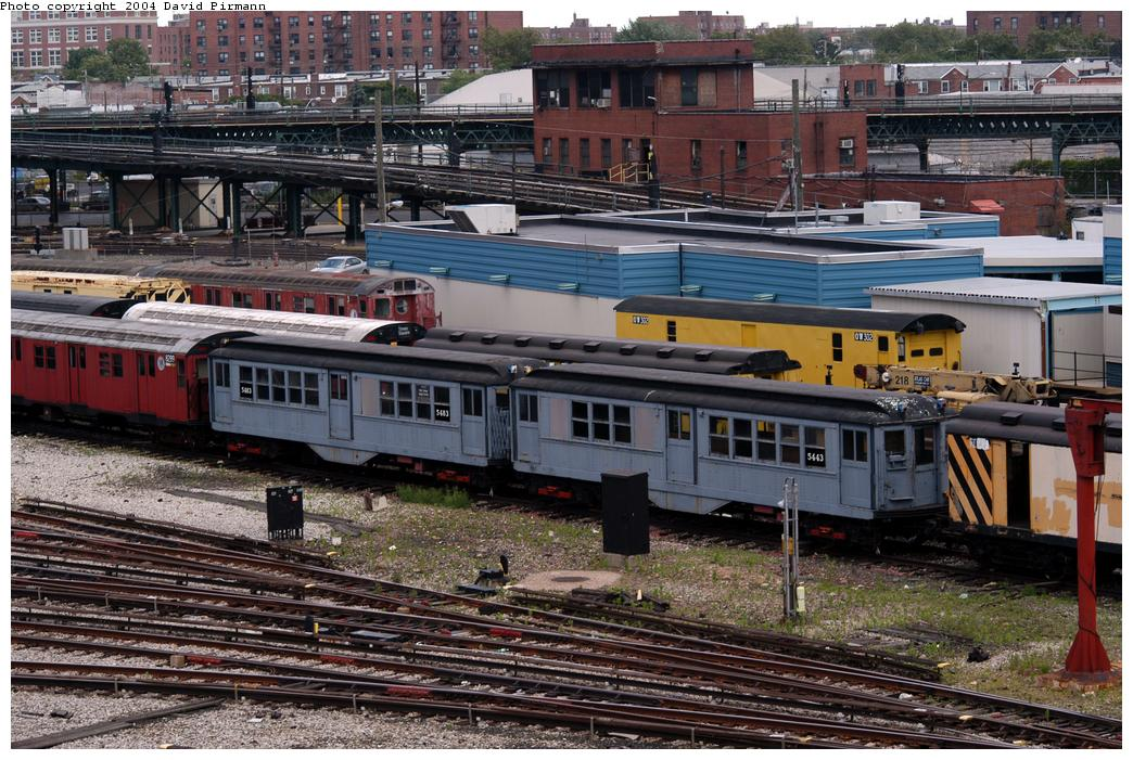 (205k, 1044x701)<br><b>Country:</b> United States<br><b>City:</b> New York<br><b>System:</b> New York City Transit<br><b>Location:</b> Coney Island Yard-Museum Yard<br><b>Car:</b> Low-V (Museum Train) 5483/5443 <br><b>Photo by:</b> David Pirmann<br><b>Date:</b> 6/13/2004<br><b>Viewed (this week/total):</b> 6 / 4642