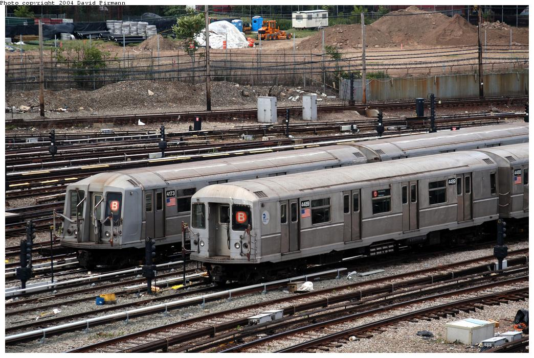 (226k, 1044x701)<br><b>Country:</b> United States<br><b>City:</b> New York<br><b>System:</b> New York City Transit<br><b>Location:</b> Coney Island Yard<br><b>Car:</b> R-40M (St. Louis, 1969)  4489 <br><b>Photo by:</b> David Pirmann<br><b>Date:</b> 6/13/2004<br><b>Notes:</b> With 4173<br><b>Viewed (this week/total):</b> 0 / 3950