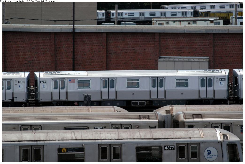 (167k, 1044x701)<br><b>Country:</b> United States<br><b>City:</b> New York<br><b>System:</b> New York City Transit<br><b>Location:</b> Coney Island Yard<br><b>Car:</b> R-143 (Kawasaki, 2001-2002) 8310 <br><b>Photo by:</b> David Pirmann<br><b>Date:</b> 6/13/2004<br><b>Viewed (this week/total):</b> 2 / 6142
