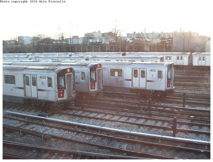 (88k, 820x624)<br><b>Country:</b> United States<br><b>City:</b> New York<br><b>System:</b> New York City Transit<br><b>Location:</b> Westchester Yard<br><b>Car:</b> R-142A (Option Order, Kawasaki, 2002-2003)  7615/7641/7295 <br><b>Photo by:</b> Mike Fioriello<br><b>Date:</b> 12/20/2003<br><b>Viewed (this week/total):</b> 0 / 4945