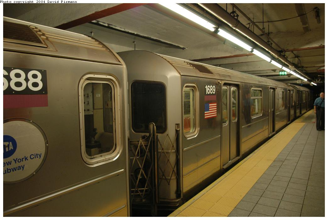 (148k, 1044x701)<br><b>Country:</b> United States<br><b>City:</b> New York<br><b>System:</b> New York City Transit<br><b>Line:</b> IRT Flushing Line<br><b>Location:</b> Times Square <br><b>Route:</b> 7<br><b>Car:</b> R-62A (Bombardier, 1984-1987)  1689 <br><b>Photo by:</b> David Pirmann<br><b>Date:</b> 6/19/2004<br><b>Viewed (this week/total):</b> 2 / 2572