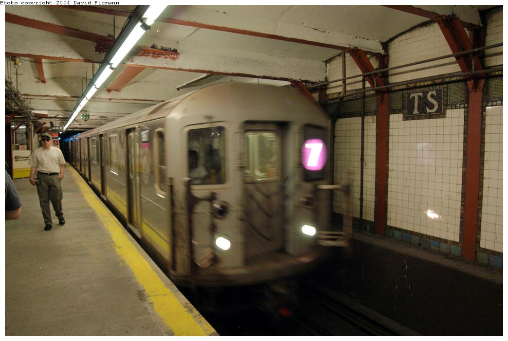 (140k, 1044x701)<br><b>Country:</b> United States<br><b>City:</b> New York<br><b>System:</b> New York City Transit<br><b>Line:</b> IRT Flushing Line<br><b>Location:</b> Times Square <br><b>Route:</b> 7<br><b>Car:</b> R-62A (Bombardier, 1984-1987)  1967 <br><b>Photo by:</b> David Pirmann<br><b>Date:</b> 6/19/2004<br><b>Viewed (this week/total):</b> 0 / 3180