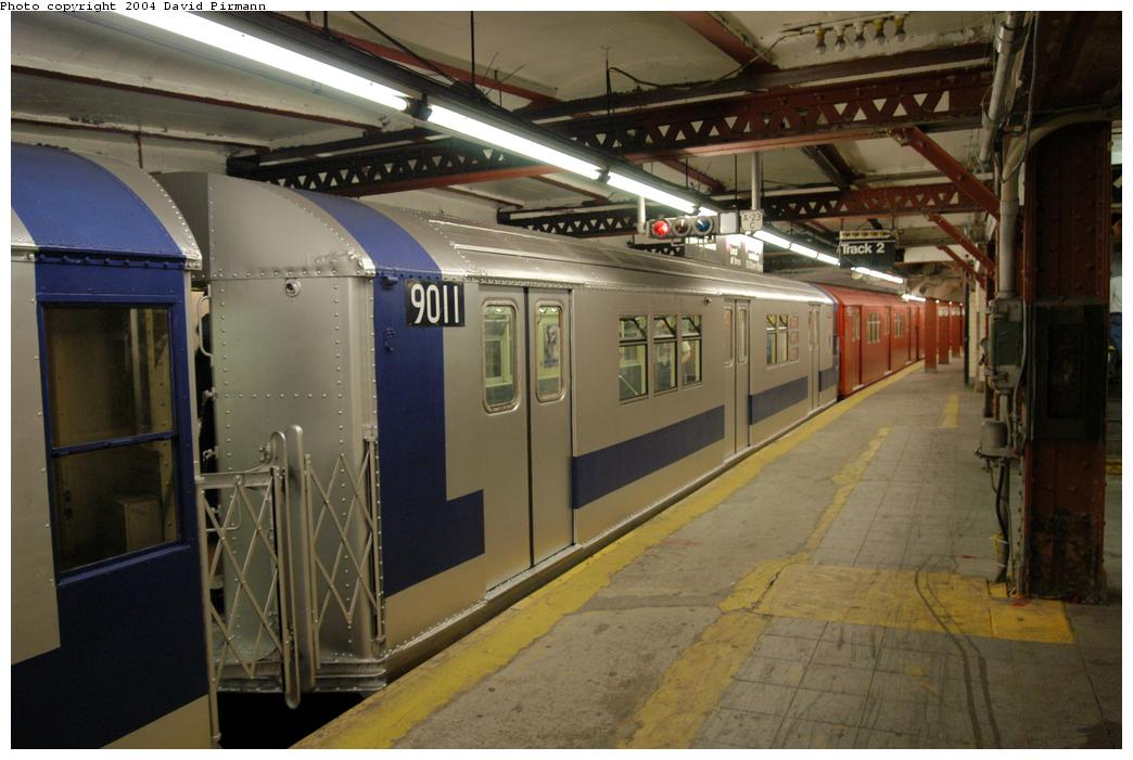 (156k, 1044x701)<br><b>Country:</b> United States<br><b>City:</b> New York<br><b>System:</b> New York City Transit<br><b>Line:</b> IRT Flushing Line<br><b>Location:</b> Times Square <br><b>Route:</b> Fan Trip<br><b>Car:</b> R-33 Main Line (St. Louis, 1962-63) 9011 <br><b>Photo by:</b> David Pirmann<br><b>Date:</b> 6/19/2004<br><b>Viewed (this week/total):</b> 1 / 5825