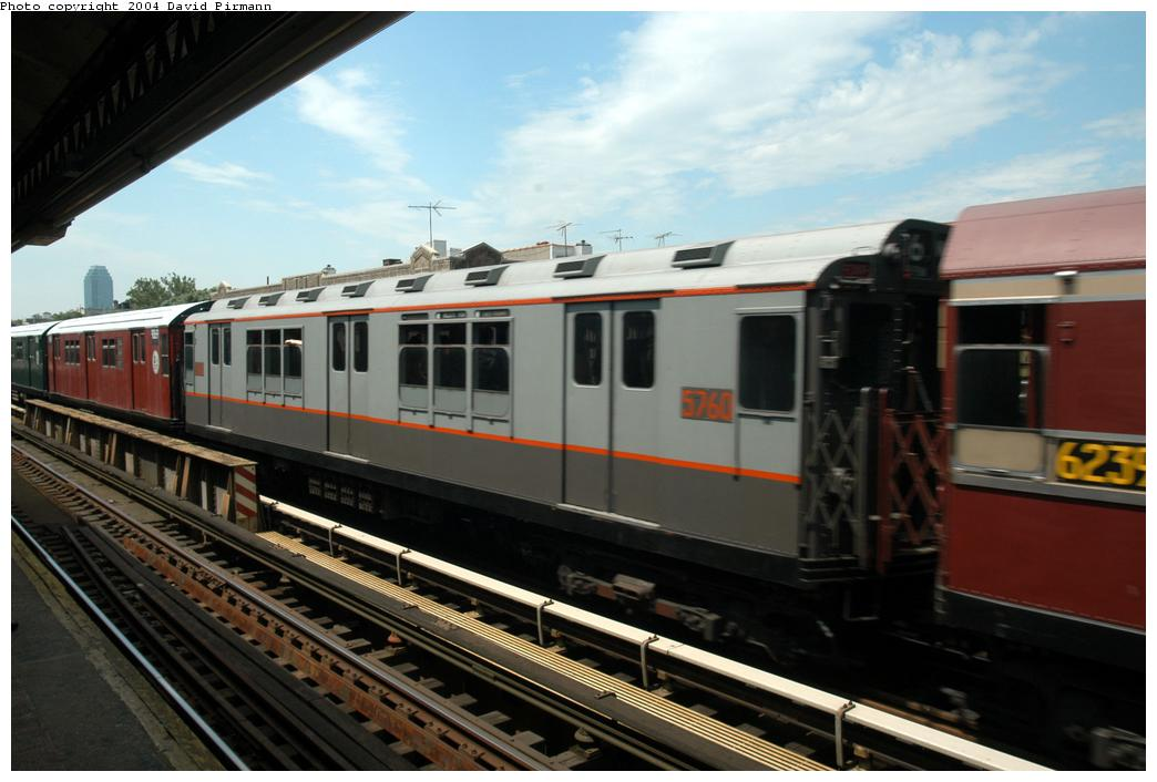 (142k, 1044x706)<br><b>Country:</b> United States<br><b>City:</b> New York<br><b>System:</b> New York City Transit<br><b>Line:</b> BMT Astoria Line<br><b>Location:</b> Broadway <br><b>Route:</b> Fan Trip<br><b>Car:</b> R-12 (American Car & Foundry, 1948) 5760 <br><b>Photo by:</b> David Pirmann<br><b>Date:</b> 6/19/2004<br><b>Viewed (this week/total):</b> 11 / 2169