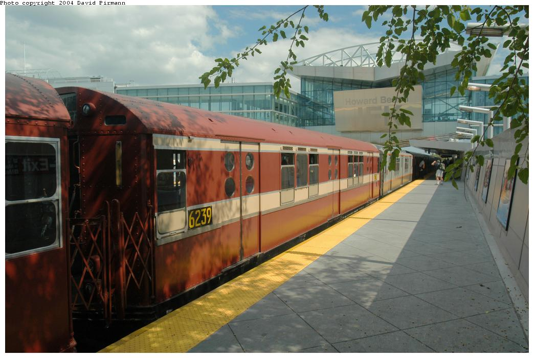 (151k, 1044x701)<br><b>Country:</b> United States<br><b>City:</b> New York<br><b>System:</b> New York City Transit<br><b>Line:</b> IND Rockaway<br><b>Location:</b> Howard Beach <br><b>Route:</b> Fan Trip<br><b>Car:</b> R-15 (American Car & Foundry, 1950) 6239 <br><b>Photo by:</b> David Pirmann<br><b>Date:</b> 6/19/2004<br><b>Viewed (this week/total):</b> 1 / 3658