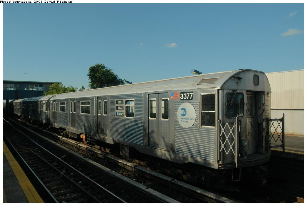 (120k, 1044x701)<br><b>Country:</b> United States<br><b>City:</b> New York<br><b>System:</b> New York City Transit<br><b>Line:</b> IND Rockaway<br><b>Location:</b> Broad Channel <br><b>Route:</b> A<br><b>Car:</b> R-32 (Budd, 1964)  3377 <br><b>Photo by:</b> David Pirmann<br><b>Date:</b> 6/19/2004<br><b>Viewed (this week/total):</b> 1 / 6129