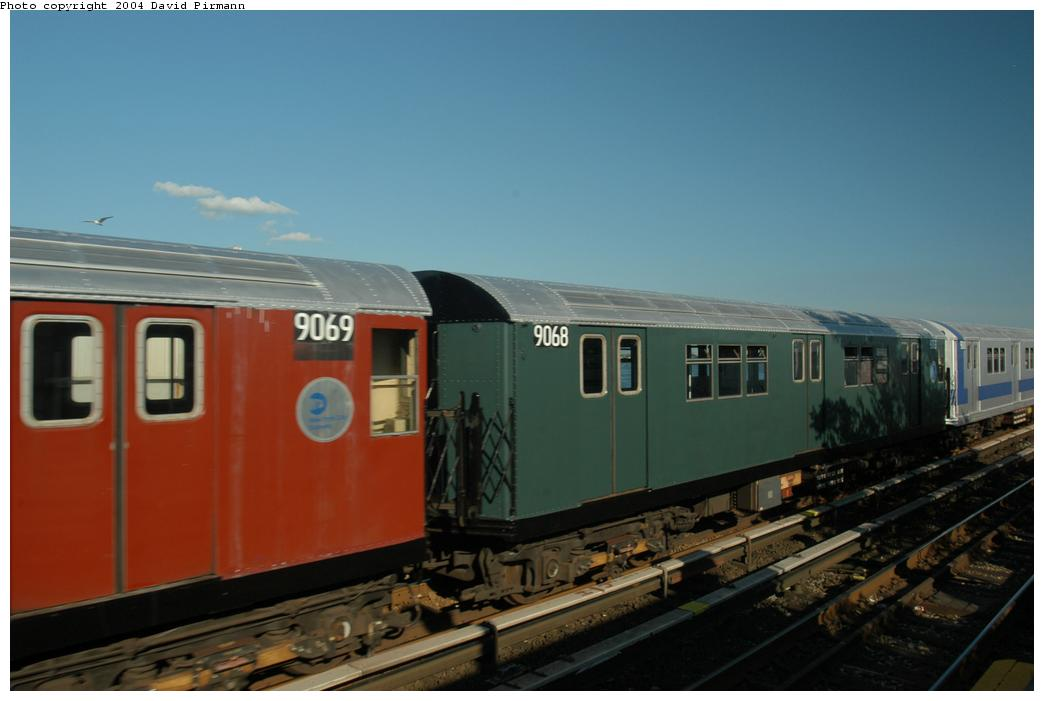(112k, 1044x701)<br><b>Country:</b> United States<br><b>City:</b> New York<br><b>System:</b> New York City Transit<br><b>Line:</b> IND Rockaway<br><b>Location:</b> Broad Channel <br><b>Route:</b> Fan Trip<br><b>Car:</b> R-33 Main Line (St. Louis, 1962-63) 9068 <br><b>Photo by:</b> David Pirmann<br><b>Date:</b> 6/19/2004<br><b>Viewed (this week/total):</b> 1 / 2686