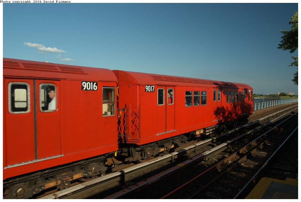 (122k, 1044x701)<br><b>Country:</b> United States<br><b>City:</b> New York<br><b>System:</b> New York City Transit<br><b>Line:</b> IND Rockaway<br><b>Location:</b> Broad Channel <br><b>Route:</b> Fan Trip<br><b>Car:</b> R-33 Main Line (St. Louis, 1962-63) 9017 <br><b>Photo by:</b> David Pirmann<br><b>Date:</b> 6/19/2004<br><b>Viewed (this week/total):</b> 0 / 2069