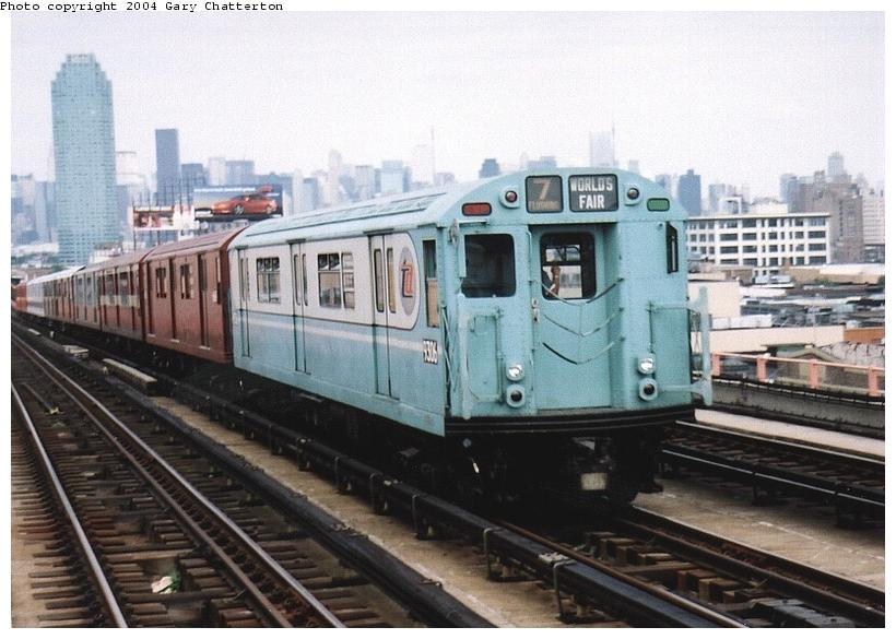 (76k, 820x585)<br><b>Country:</b> United States<br><b>City:</b> New York<br><b>System:</b> New York City Transit<br><b>Line:</b> IRT Flushing Line<br><b>Location:</b> 40th Street/Lowery Street <br><b>Route:</b> Fan Trip<br><b>Car:</b> R-33 World's Fair (St. Louis, 1963-64) 9306 <br><b>Photo by:</b> Gary Chatterton<br><b>Date:</b> 6/19/2004<br><b>Viewed (this week/total):</b> 0 / 2543