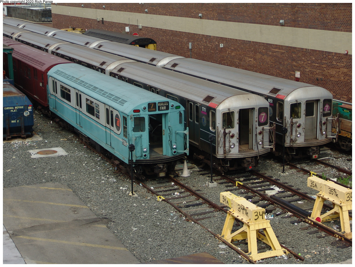 (128k, 820x620)<br><b>Country:</b> United States<br><b>City:</b> New York<br><b>System:</b> New York City Transit<br><b>Location:</b> Corona Yard<br><b>Route:</b> Fan Trip<br><b>Car:</b> R-33 World's Fair (St. Louis, 1963-64) 9306 <br><b>Photo by:</b> Richard Panse<br><b>Date:</b> 6/19/2004<br><b>Viewed (this week/total):</b> 0 / 3594