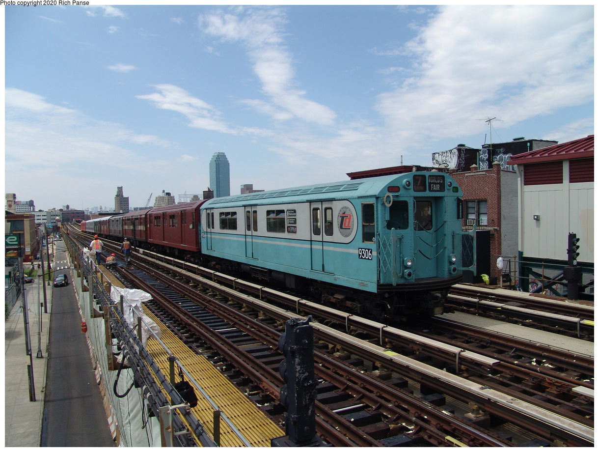 (102k, 820x620)<br><b>Country:</b> United States<br><b>City:</b> New York<br><b>System:</b> New York City Transit<br><b>Line:</b> BMT Astoria Line<br><b>Location:</b> 36th/Washington Aves. <br><b>Route:</b> Fan Trip<br><b>Car:</b> R-33 World's Fair (St. Louis, 1963-64) 9306 <br><b>Photo by:</b> Richard Panse<br><b>Date:</b> 6/19/2004<br><b>Viewed (this week/total):</b> 5 / 2035