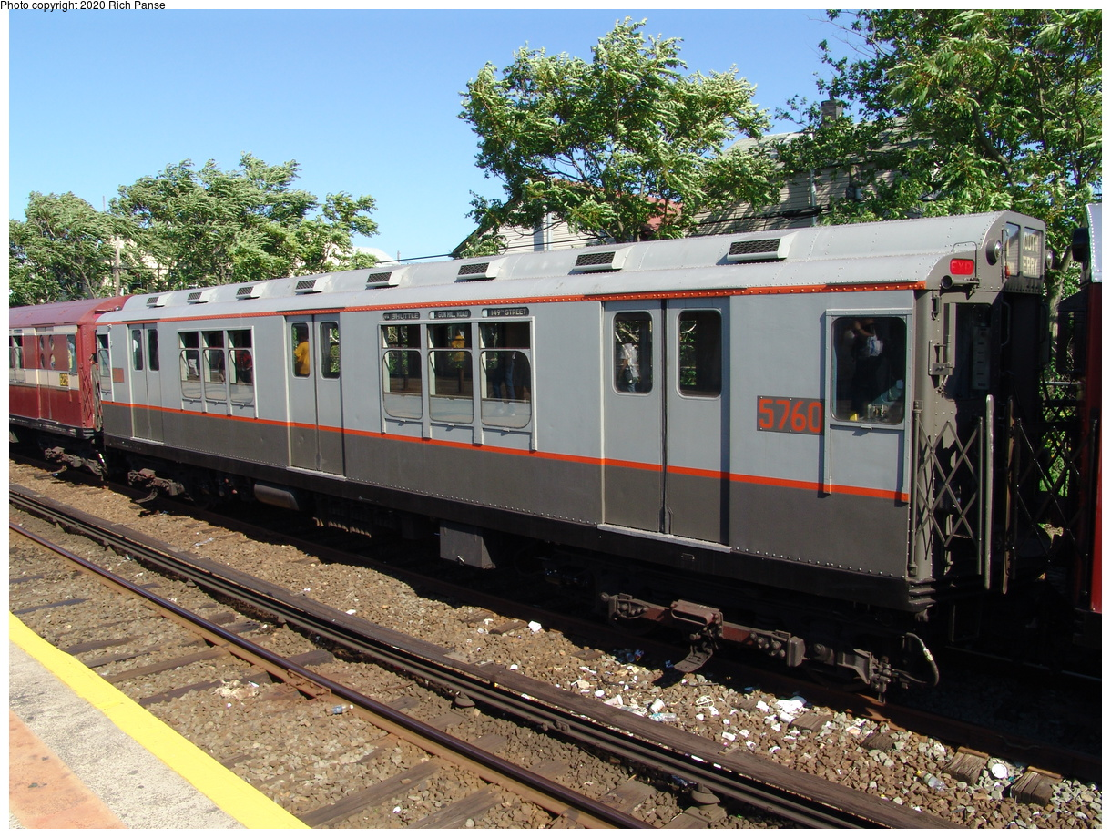 (131k, 820x620)<br><b>Country:</b> United States<br><b>City:</b> New York<br><b>System:</b> New York City Transit<br><b>Line:</b> IND Rockaway<br><b>Location:</b> Rockaway Park/Beach 116th Street <br><b>Route:</b> Fan Trip<br><b>Car:</b> R-12 (American Car & Foundry, 1948) 5760 <br><b>Photo by:</b> Richard Panse<br><b>Date:</b> 6/19/2004<br><b>Viewed (this week/total):</b> 2 / 2009