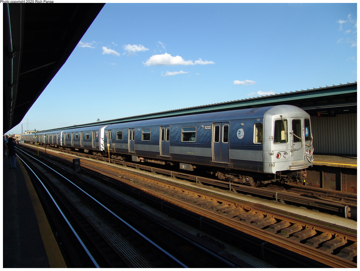 (83k, 820x620)<br><b>Country:</b> United States<br><b>City:</b> New York<br><b>System:</b> New York City Transit<br><b>Line:</b> IND Fulton Street Line<br><b>Location:</b> Rockaway Boulevard <br><b>Route:</b> A<br><b>Car:</b> R-44 (St. Louis, 1971-73) 5232 <br><b>Photo by:</b> Richard Panse<br><b>Date:</b> 6/19/2004<br><b>Viewed (this week/total):</b> 1 / 2567