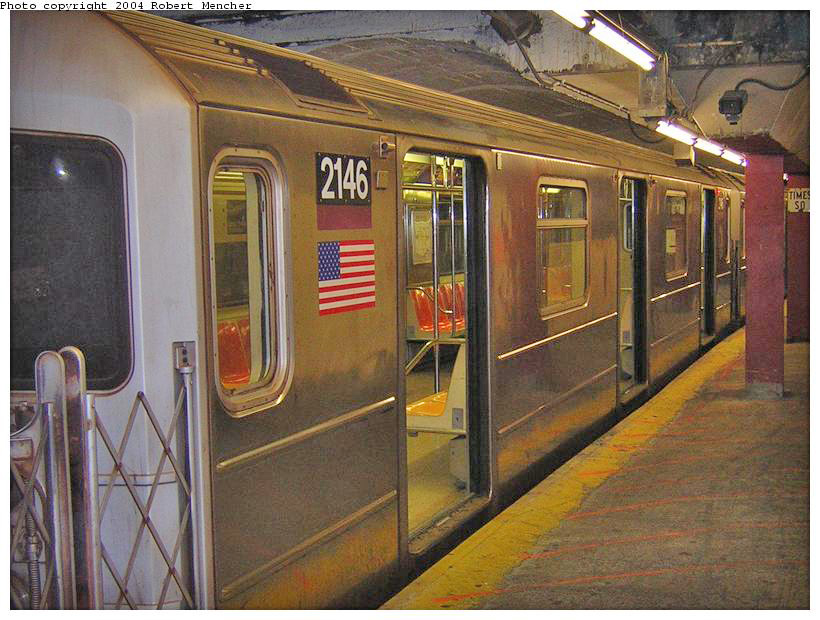 (199k, 820x620)<br><b>Country:</b> United States<br><b>City:</b> New York<br><b>System:</b> New York City Transit<br><b>Line:</b> IRT Flushing Line<br><b>Location:</b> Times Square <br><b>Route:</b> 7<br><b>Car:</b> R-62A (Bombardier, 1984-1987)  2146 <br><b>Photo by:</b> Robert Mencher<br><b>Date:</b> 6/26/2004<br><b>Viewed (this week/total):</b> 2 / 2678