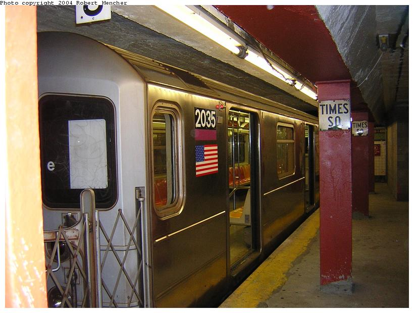 (113k, 820x620)<br><b>Country:</b> United States<br><b>City:</b> New York<br><b>System:</b> New York City Transit<br><b>Line:</b> IRT Flushing Line<br><b>Location:</b> Times Square <br><b>Route:</b> 7<br><b>Car:</b> R-62A (Bombardier, 1984-1987)  2035 <br><b>Photo by:</b> Robert Mencher<br><b>Date:</b> 6/26/2004<br><b>Viewed (this week/total):</b> 0 / 3690