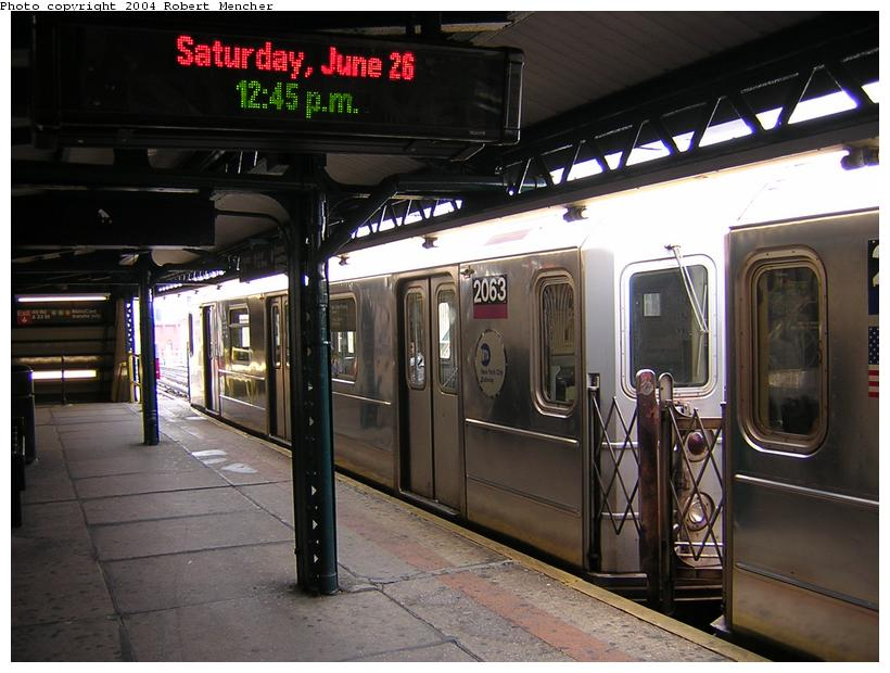 (114k, 820x620)<br><b>Country:</b> United States<br><b>City:</b> New York<br><b>System:</b> New York City Transit<br><b>Line:</b> IRT Flushing Line<br><b>Location:</b> Court House Square/45th Road <br><b>Route:</b> 7<br><b>Car:</b> R-62A (Bombardier, 1984-1987)  2063 <br><b>Photo by:</b> Robert Mencher<br><b>Date:</b> 6/26/2004<br><b>Viewed (this week/total):</b> 0 / 4942