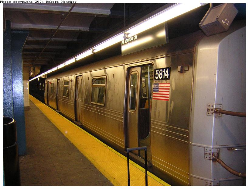 (114k, 820x620)<br><b>Country:</b> United States<br><b>City:</b> New York<br><b>System:</b> New York City Transit<br><b>Line:</b> IND Crosstown Line<br><b>Location:</b> Church Avenue <br><b>Route:</b> G<br><b>Car:</b> R-46 (Pullman-Standard, 1974-75) 5814 <br><b>Photo by:</b> Robert Mencher<br><b>Date:</b> 6/26/2004<br><b>Viewed (this week/total):</b> 0 / 3804