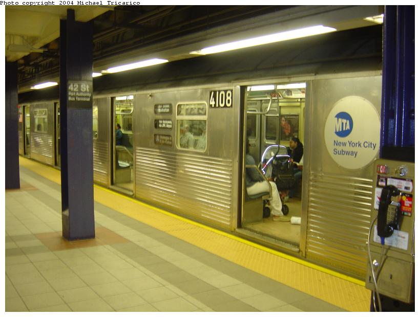 (73k, 820x620)<br><b>Country:</b> United States<br><b>City:</b> New York<br><b>System:</b> New York City Transit<br><b>Line:</b> IND 8th Avenue Line<br><b>Location:</b> 42nd Street/Port Authority Bus Terminal <br><b>Route:</b> A<br><b>Car:</b> R-38 (St. Louis, 1966-1967)  4108 <br><b>Photo by:</b> Michael Tricarico<br><b>Date:</b> 6/2/2004<br><b>Viewed (this week/total):</b> 7 / 8496