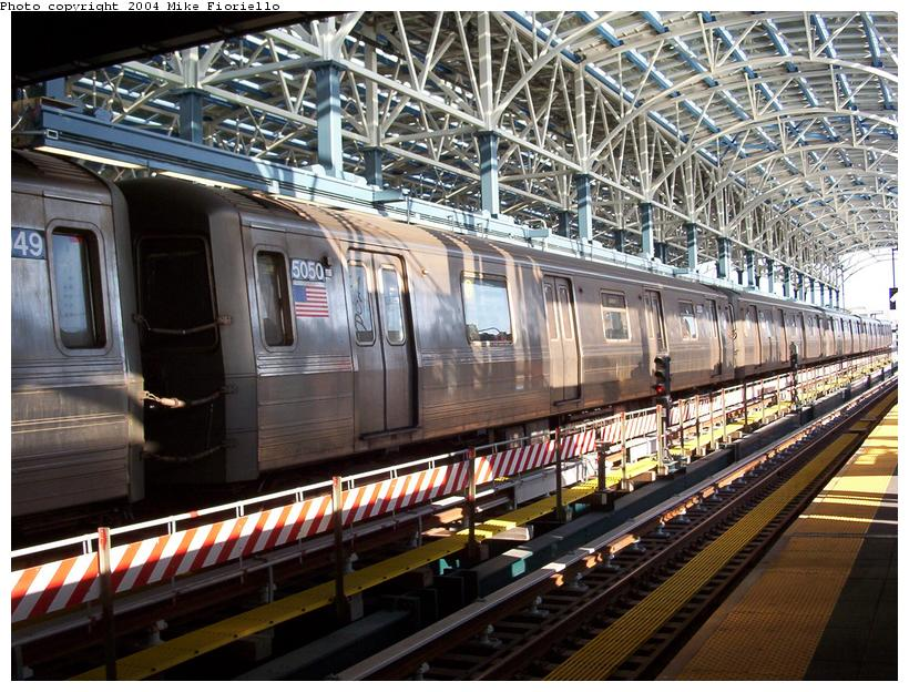(130k, 820x624)<br><b>Country:</b> United States<br><b>City:</b> New York<br><b>System:</b> New York City Transit<br><b>Location:</b> Coney Island/Stillwell Avenue<br><b>Route:</b> Q<br><b>Car:</b> R-68A (Kawasaki, 1988-1989)  5050 <br><b>Photo by:</b> Mike Fioriello<br><b>Date:</b> 6/3/2004<br><b>Viewed (this week/total):</b> 2 / 2897