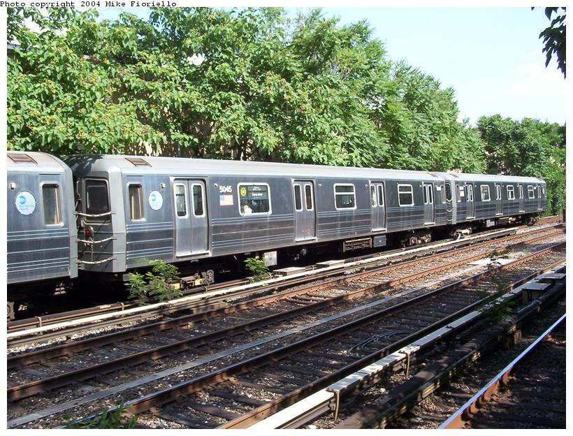 (156k, 820x624)<br><b>Country:</b> United States<br><b>City:</b> New York<br><b>System:</b> New York City Transit<br><b>Line:</b> BMT Brighton Line<br><b>Location:</b> Avenue J <br><b>Route:</b> Q<br><b>Car:</b> R-68A (Kawasaki, 1988-1989)  5045 <br><b>Photo by:</b> Mike Fioriello<br><b>Date:</b> 6/21/2004<br><b>Viewed (this week/total):</b> 2 / 4670