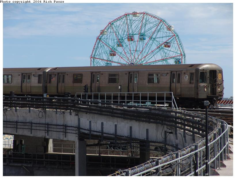 (101k, 820x620)<br><b>Country:</b> United States<br><b>City:</b> New York<br><b>System:</b> New York City Transit<br><b>Location:</b> Coney Island/Stillwell Avenue<br><b>Route:</b> Q<br><b>Car:</b> R-68A (Kawasaki, 1988-1989)  5120 <br><b>Photo by:</b> Richard Panse<br><b>Date:</b> 6/13/2004<br><b>Viewed (this week/total):</b> 1 / 4374