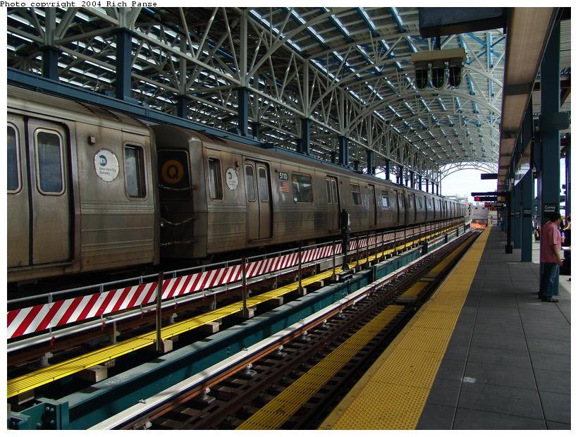 (136k, 820x620)<br><b>Country:</b> United States<br><b>City:</b> New York<br><b>System:</b> New York City Transit<br><b>Location:</b> Coney Island/Stillwell Avenue<br><b>Route:</b> Q<br><b>Car:</b> R-68A (Kawasaki, 1988-1989)  5110 <br><b>Photo by:</b> Richard Panse<br><b>Date:</b> 6/13/2004<br><b>Viewed (this week/total):</b> 0 / 3050