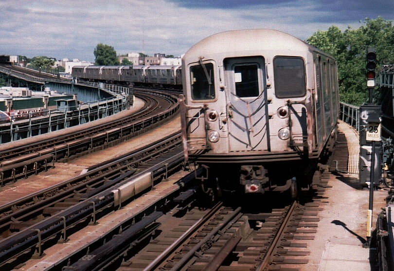 (262k, 810x556)<br><b>Country:</b> United States<br><b>City:</b> New York<br><b>System:</b> New York City Transit<br><b>Line:</b> IRT Flushing Line<br><b>Location:</b> 46th Street/Bliss Street <br><b>Car:</b> R-62A (Bombardier, 1984-1987)  2144 <br><b>Photo by:</b> Gary Chatterton<br><b>Date:</b> 7/7/2004<br><b>Viewed (this week/total):</b> 4 / 3063