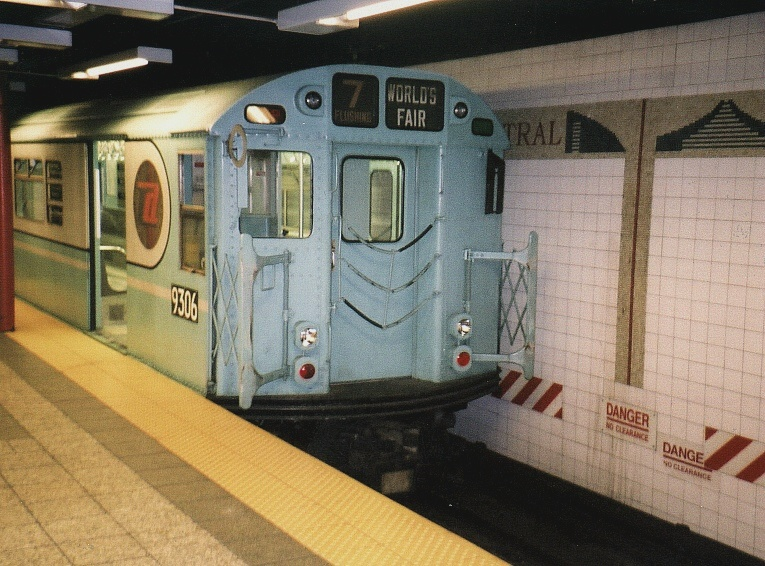 (215k, 765x566)<br><b>Country:</b> United States<br><b>City:</b> New York<br><b>System:</b> New York City Transit<br><b>Line:</b> IRT Times Square-Grand Central Shuttle<br><b>Location:</b> Grand Central <br><b>Route:</b> Fan Trip<br><b>Car:</b> R-33 World's Fair (St. Louis, 1963-64) 9306 <br><b>Photo by:</b> Gary Chatterton<br><b>Date:</b> 7/7/2004<br><b>Notes:</b> IRT 'SMEE' museum train in operation on the Times Square-Grand Central Shuttle, an impromptu centennial event.<br><b>Viewed (this week/total):</b> 0 / 2863