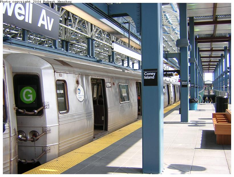 (134k, 820x620)<br><b>Country:</b> United States<br><b>City:</b> New York<br><b>System:</b> New York City Transit<br><b>Location:</b> Coney Island/Stillwell Avenue<br><b>Route:</b> G<br><b>Car:</b> R-46 (Pullman-Standard, 1974-75) 6194 <br><b>Photo by:</b> Robert Mencher<br><b>Date:</b> 7/10/2004<br><b>Viewed (this week/total):</b> 0 / 4260