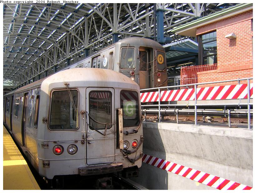(151k, 820x620)<br><b>Country:</b> United States<br><b>City:</b> New York<br><b>System:</b> New York City Transit<br><b>Location:</b> Coney Island/Stillwell Avenue<br><b>Route:</b> Q<br><b>Car:</b> R-68A (Kawasaki, 1988-1989)  5062 <br><b>Photo by:</b> Robert Mencher<br><b>Date:</b> 7/10/2004<br><b>Notes:</b> With R46 on G<br><b>Viewed (this week/total):</b> 0 / 4400