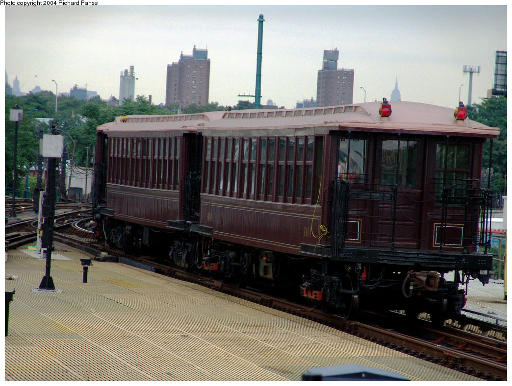 (187k, 1044x788)<br><b>Country:</b> United States<br><b>City:</b> New York<br><b>System:</b> New York City Transit<br><b>Location:</b> Coney Island/Stillwell Avenue<br><b>Route:</b> Fan Trip<br><b>Car:</b> BMT Elevated Gate Car 1404, 1273, 1407 <br><b>Photo by:</b> Richard Panse<br><b>Date:</b> 7/24/2004<br><b>Viewed (this week/total):</b> 4 / 2732