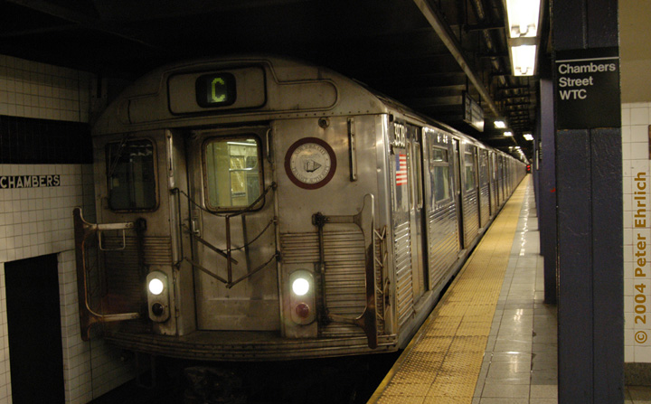 (126k, 720x447)<br><b>Country:</b> United States<br><b>City:</b> New York<br><b>System:</b> New York City Transit<br><b>Line:</b> IND 8th Avenue Line<br><b>Location:</b> Chambers Street/World Trade Center <br><b>Route:</b> C<br><b>Car:</b> R-38 (St. Louis, 1966-1967)  3978 <br><b>Photo by:</b> Peter Ehrlich<br><b>Date:</b> 12/25/2003<br><b>Viewed (this week/total):</b> 3 / 4038