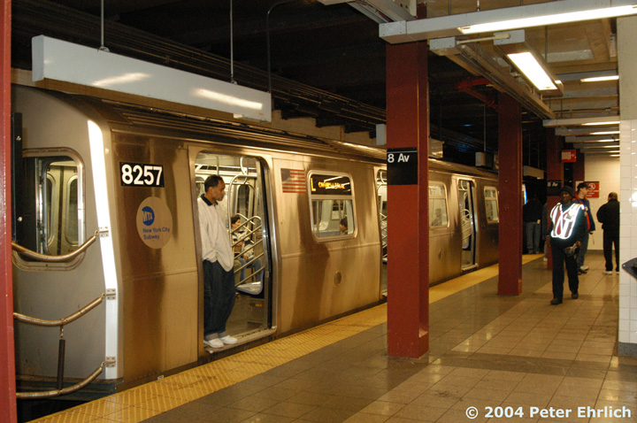 (159k, 720x478)<br><b>Country:</b> United States<br><b>City:</b> New York<br><b>System:</b> New York City Transit<br><b>Line:</b> BMT Canarsie Line<br><b>Location:</b> 8th Avenue <br><b>Route:</b> L<br><b>Car:</b> R-143 (Kawasaki, 2001-2002) 8257 <br><b>Photo by:</b> Peter Ehrlich<br><b>Date:</b> 12/28/2003<br><b>Viewed (this week/total):</b> 9 / 4158