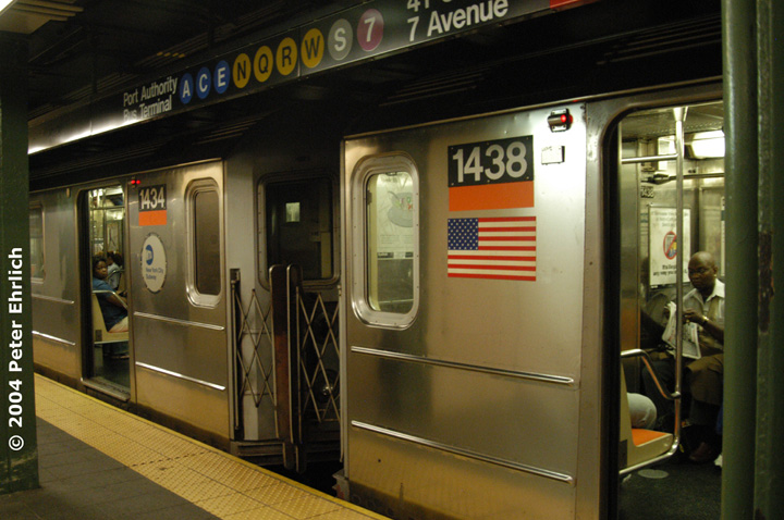 (143k, 720x478)<br><b>Country:</b> United States<br><b>City:</b> New York<br><b>System:</b> New York City Transit<br><b>Line:</b> IRT West Side Line<br><b>Location:</b> Times Square/42nd Street <br><b>Route:</b> 3<br><b>Car:</b> R-62 (Kawasaki, 1983-1985)  1434/1438 <br><b>Photo by:</b> Peter Ehrlich<br><b>Date:</b> 7/17/2004<br><b>Notes:</b> These are the survivors of the Union Sq. wreck.<br><b>Viewed (this week/total):</b> 0 / 6410