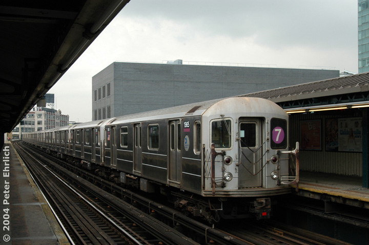 (117k, 720x478)<br><b>Country:</b> United States<br><b>City:</b> New York<br><b>System:</b> New York City Transit<br><b>Line:</b> IRT Flushing Line<br><b>Location:</b> Court House Square/45th Road <br><b>Route:</b> 7<br><b>Car:</b> R-62A (Bombardier, 1984-1987)  1965 <br><b>Photo by:</b> Peter Ehrlich<br><b>Date:</b> 7/19/2004<br><b>Viewed (this week/total):</b> 3 / 2658