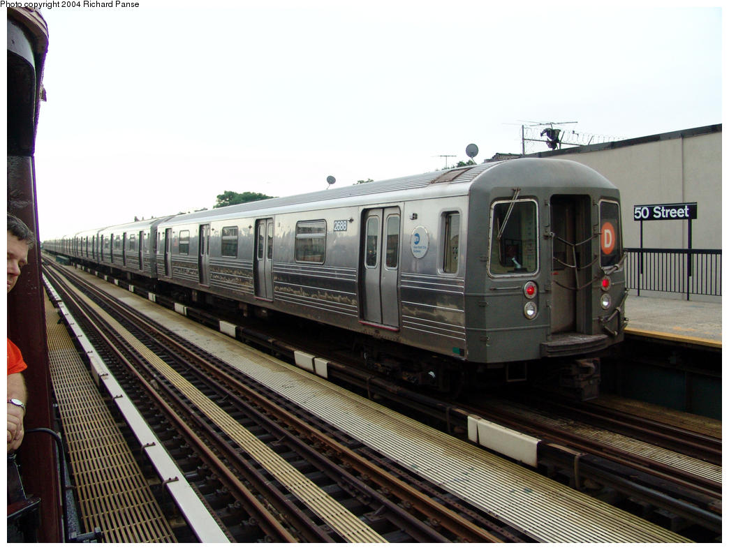 (162k, 1044x788)<br><b>Country:</b> United States<br><b>City:</b> New York<br><b>System:</b> New York City Transit<br><b>Line:</b> BMT West End Line<br><b>Location:</b> 50th Street <br><b>Route:</b> D<br><b>Car:</b> R-68 (Westinghouse-Amrail, 1986-1988)  2688 <br><b>Photo by:</b> Richard Panse<br><b>Date:</b> 7/24/2004<br><b>Viewed (this week/total):</b> 0 / 2743