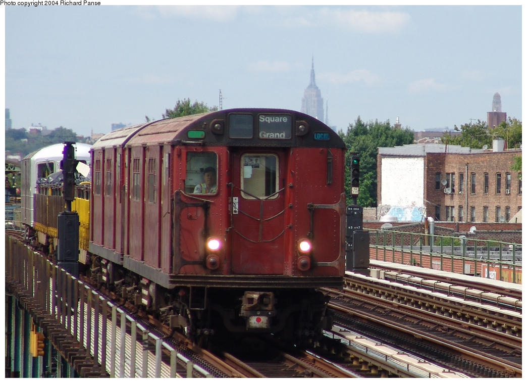 (168k, 1044x758)<br><b>Country:</b> United States<br><b>City:</b> New York<br><b>System:</b> New York City Transit<br><b>Line:</b> BMT Culver Line<br><b>Location:</b> Avenue I <br><b>Route:</b> Work Service<br><b>Car:</b> R-33 World's Fair (St. Louis, 1963-64) 9340 <br><b>Photo by:</b> Richard Panse<br><b>Date:</b> 7/25/2004<br><b>Viewed (this week/total):</b> 0 / 3078
