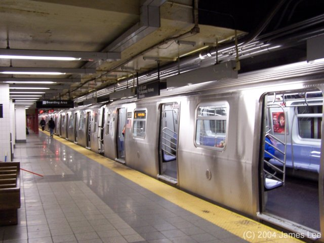 (61k, 640x480)<br><b>Country:</b> United States<br><b>City:</b> New York<br><b>System:</b> New York City Transit<br><b>Line:</b> BMT Canarsie Line<br><b>Location:</b> 8th Avenue <br><b>Route:</b> L<br><b>Car:</b> R-143 (Kawasaki, 2001-2002)  <br><b>Photo by:</b> James Lee<br><b>Date:</b> 6/25/2004<br><b>Viewed (this week/total):</b> 0 / 6556