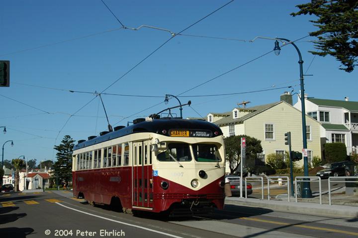 (131k, 720x478)<br><b>Country:</b> United States<br><b>City:</b> San Francisco/Bay Area, CA<br><b>System:</b> SF MUNI<br><b>Line:</b> MUNI Metro (K/M)<br><b>Location:</b> Ocean/Aptos <br><b>Car:</b> SF MUNI PCC Torpedo Double-End (St. Louis Car Co., 1948)  1007 <br><b>Photo by:</b> Peter Ehrlich<br><b>Date:</b> 12/14/2003<br><b>Notes:</b> K-Ingleside line, on a fantrip.  The line reopened for streetcar service six months earlier.<br><b>Viewed (this week/total):</b> 1 / 3356
